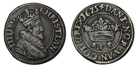 Danmark 1/2 Krone 1625 Kv 1+