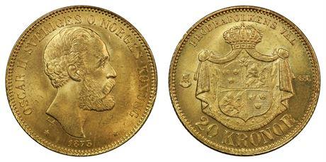 Sverige 20 Kronor 1873 Kv 0/01
