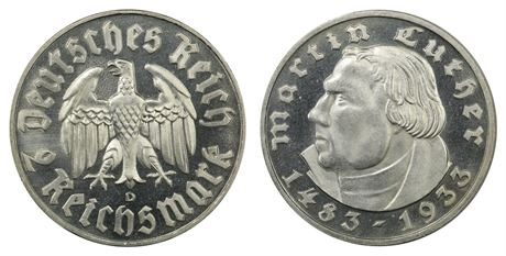 Germany 2 Mark 1933G Proof