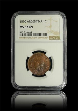 Argentina Centavo 1890 NGC MS62