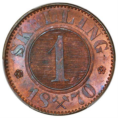 1 Skilling 1870 Kv 0, PCGS MS65RB