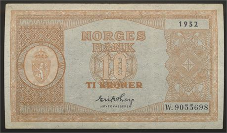 10 Kroner 1952 W Kv 1+