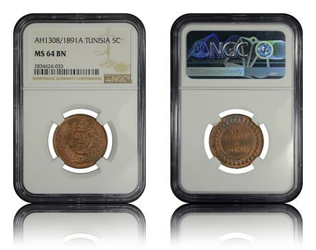Tunisia 5 Centimes 1891A NGC MS64BN