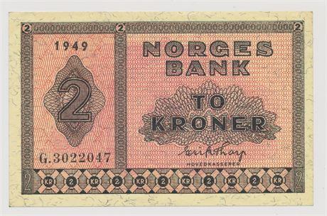 2 Kroner 1949 G3022047 Kv 0/01