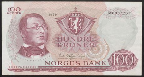 100 Kroner 1969 M Kv 1+