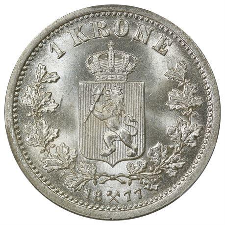 1 Krone 1877 Kv 0, vakker PCGS MS65