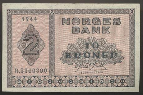 2 Kroner 1944 D Kv 1+