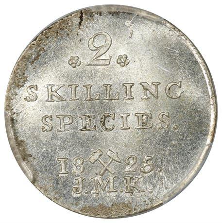 2 Skilling 1825 Kv 0, PCGS MS65