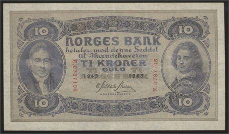 10 Kroner 1943 E Kv 1+
