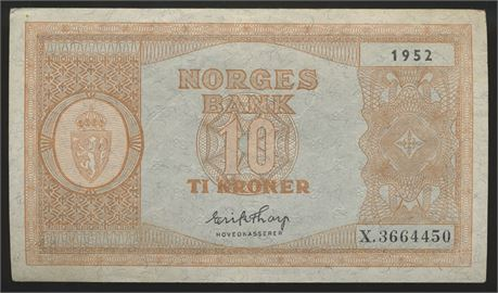 10 Kroner 1952 X Kv 1/1+