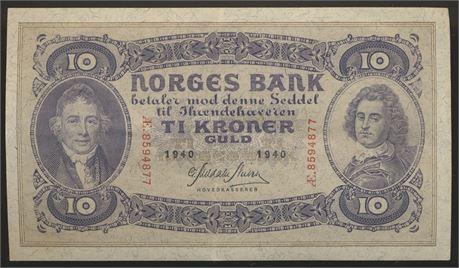 10 Kroner 1940 Æ Kv 1+