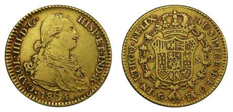 Spania 2 Escudos 1804M FA Kv 1+