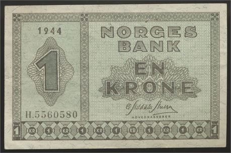 1 Krone 1944 H Kv 1/1+