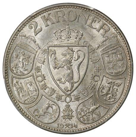 2 Kroner 1914 Kv 0/01, PCGS MS62