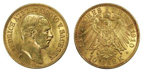 Sachsen 10 Mark 1910 E Kv UNC