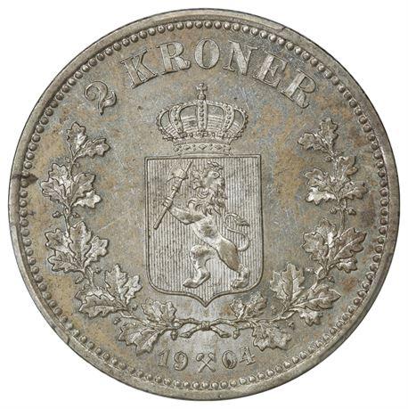 2 Kroner 1904 Kv 0/01, PCGS MS62