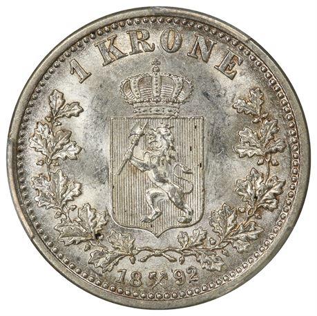 1 Krone 1892 Kv 0/01, PCGS MS63