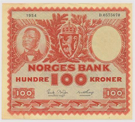 100 Kroner 1954 D0575670 Kv 01