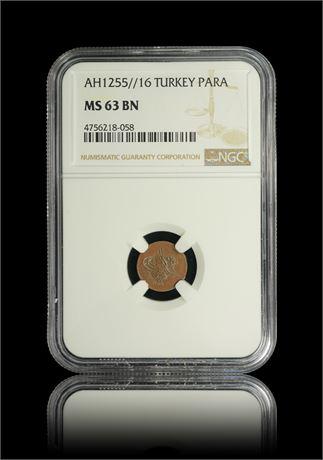 Tyrkia Para 1255//16 NGC MS63