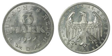 Tyskland 3 Mark 1922 J Kv 0
