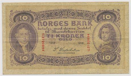 10 Kroner 1918 G3120894 Kv 1/1+