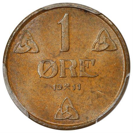 1 Øre 1911 Kv 0, PCGS MS64BN