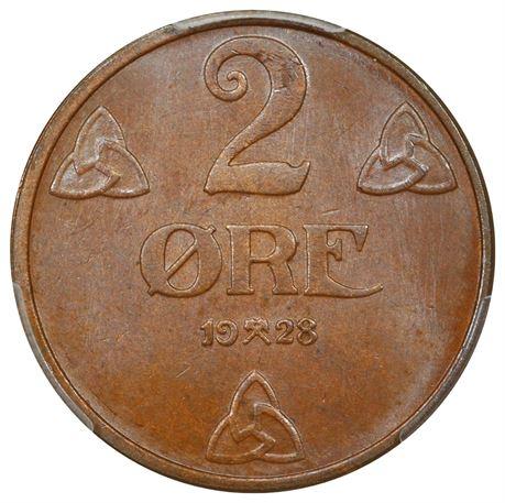 2 Øre 1928 Kv 0, PCGS MS65BN