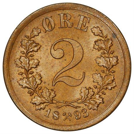 2 Øre 1893 Kv 0, nydelig