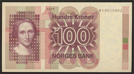 100 Kroner 1977 HI Erstatning Kv 0