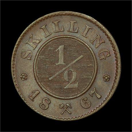 1/2 Skilling 1867 Kv 0/01