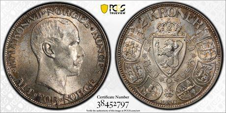 2 Kroner 1917 Kv 0/01, PCGS MS63+