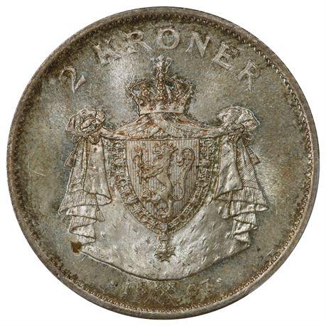 2 Kroner 1907 Kv 0 Vakker, PCGS MS67