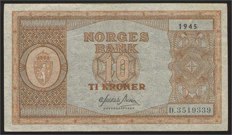 10 Kroner 1945 D Kv 1/1+
