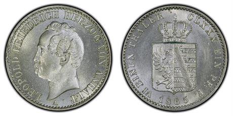 Anhalt 1/6 Thaler 1865 Kv 0