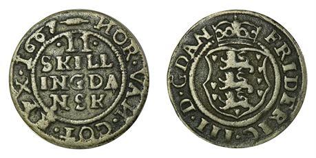 Danmark 2 Skilling 1667 Kv 1