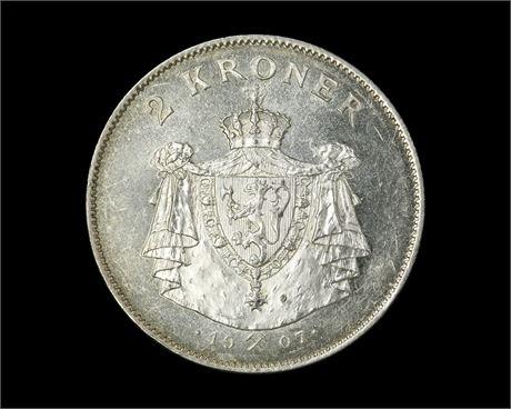 2 Kroner 1907 Gevær Kv 0/01