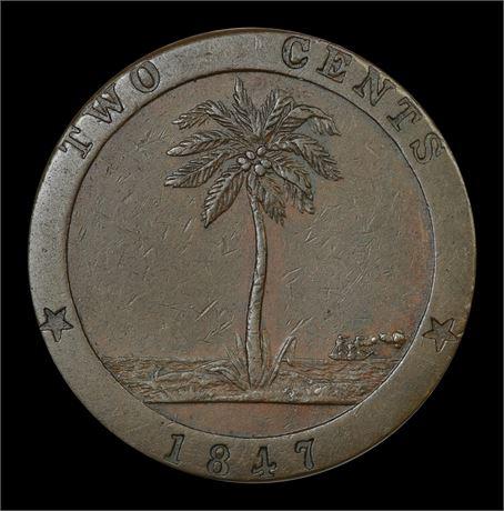 Liberia 2 Cents 1847 Kv 1+