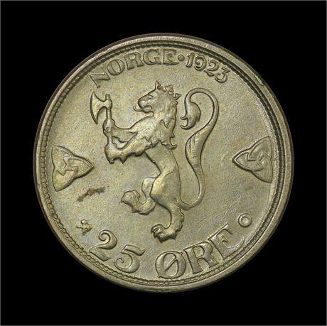 25 Øre 1923 Kv 0/01, liten blankettfeil