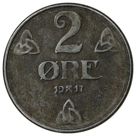 2 Øre 1917 Enkeltstrek Kv 1+