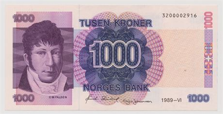 1000 Kroner 1989 320002916 Kv 0