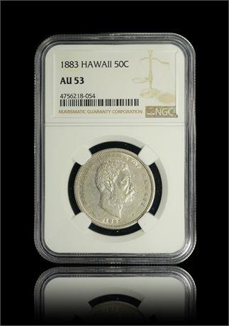 Hawaii 50 Cents 1883 NGC AU53