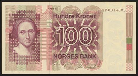 100 Kroner 1977 HP Erstatning Kv 0