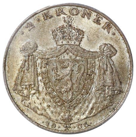 2 Kroner 1906 Kv 0, PCGS MS65