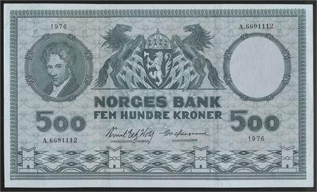 500 Kroner 1976 A Kv g 1+