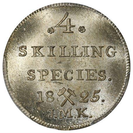 4 Skilling 1825 Kv 0, Vakker PCGS MS66