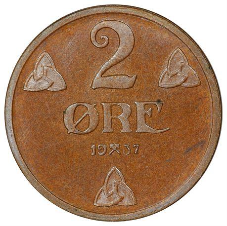 2 Øre 1937 PRAKT