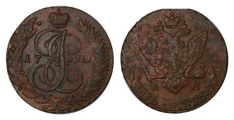 Russland 5 Kopeks 1790 AM Kv 1+/01